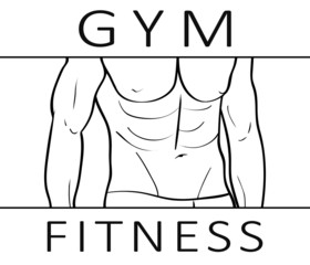Illustration with the muscular body of the athlete. Isolated