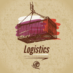Sketch logistics and delivery poster. Cardboard background.