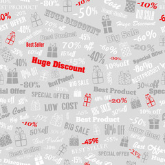 Seamless pattern on discounts and special offers