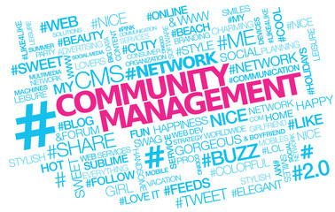 Community management hashtag tweet tag cloud words