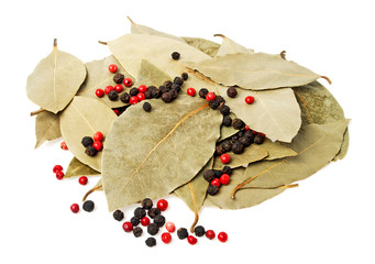 Spices - bay leaves and peppercorn isolated on white background