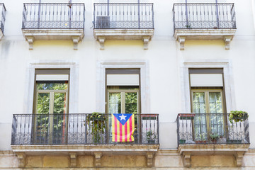 Independence flag in balcony. Catalonia