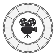 camera icon round film strip frame