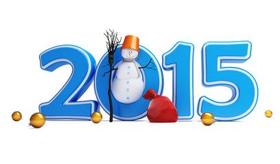 snowmen happy new year 2015 on a white background