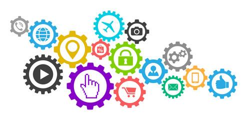 social media apps icon gears concept