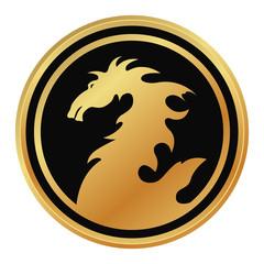golden emblem with dragon