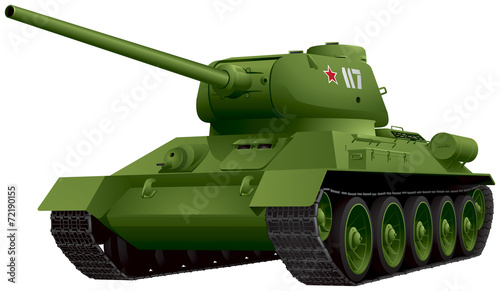 T-34 Tank in perspective vector illustration - 72190155