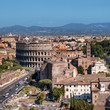 Ariel view of Rome: including the Colosseum and Roman Forum..