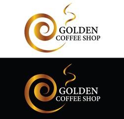 Golden Coffee Shop Logo