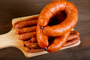 Smoked sausage on a kitchen table