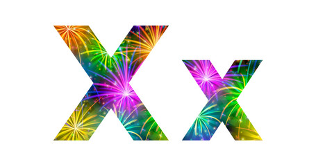 Set of letters, firework, X