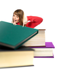 Girl pointing books over white background