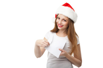 Smiling woman in christmas hat holding mail