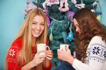 Smiling two friends having Christmas coffee