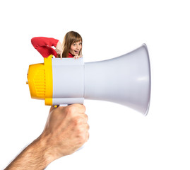Woman on megaphone over white background