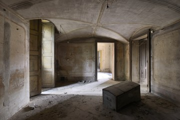 old abandoned room with chest