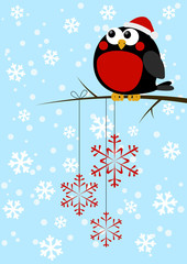 Cute little bird with Christmas snowflakes