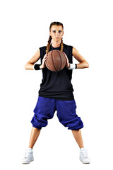 Sport girl with a basketball isolated