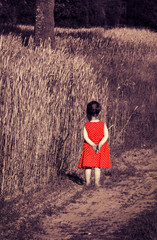 toned portrait of offended little girl in red dress