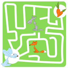 Game for Children with Hare and Carrot