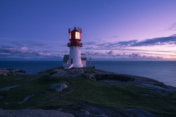 Lindesnes Lighthouse in the sunset