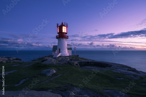 canvas print picture Lindesnes Lighthouse in the sunset