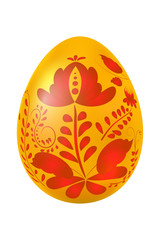 Yellow Easter egg with elements of traditional Russian painting.