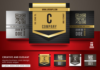 Creative and elegant square business card design