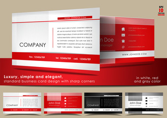 Elegant, standard business card in white, red and gray color