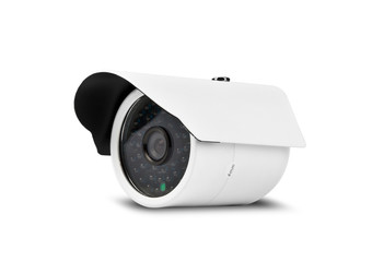 White Security Camera with Clipping Path