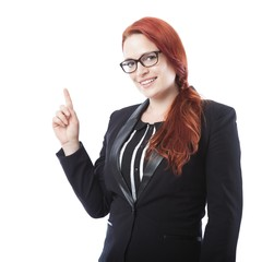 young business woman pointing something above