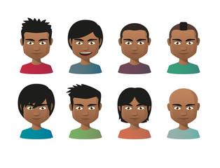 young indian men avatar set