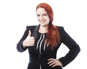 young business woman thumbs up and smile