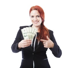 business woman point to a lot of dollar bank notes
