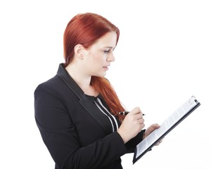 young business woman read dokument in her hand