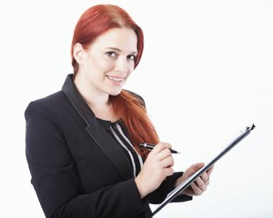 young business woman with clipboard in her hand