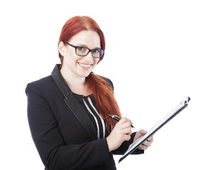 young business woman sign documents in her hand