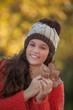 happy autumn winter brunette