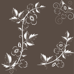 Vector retro floral background with flowers