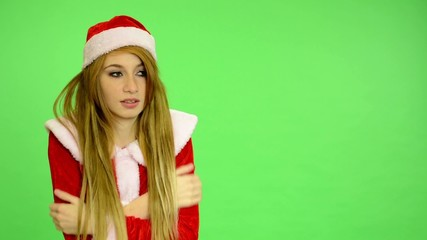 Christmas - Holidays - green screen - woman shiver cold