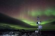 Remote meteo station with Northern Lights - Arctic, Spitsbergen