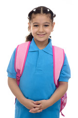 Young School Girl with Backpack