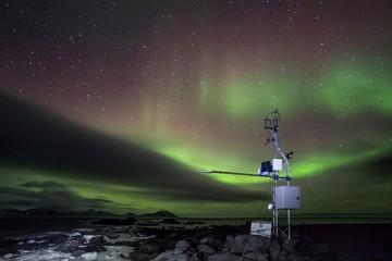 Remote meteo station with Northern Lights - Arctic, Spitsbergen