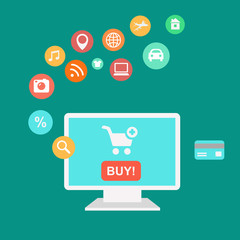 Online shopping and e-commerce concept,  buying product, online