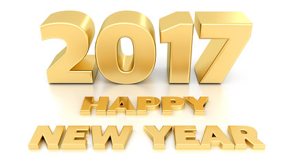Happy New Year 2017. Isolated 3D design template on white backgr