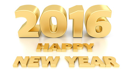 Happy New Year 2016. Isolated 3D design template on white backgr