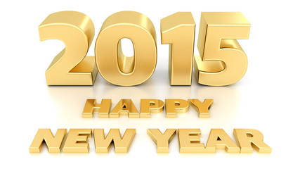 Happy New Year 2015. Isolated 3D design template on white backgr