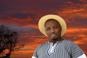 African black man on sunrise background