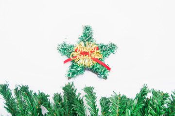 Green and gold Christmas star and tree background
