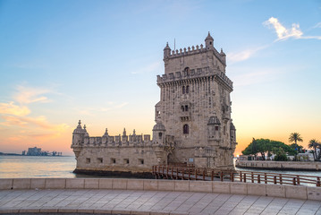 view of the belem tower at sunset, an historical monument in Lis